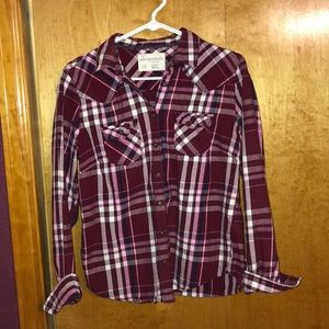 Super cute maroon striped flannel!